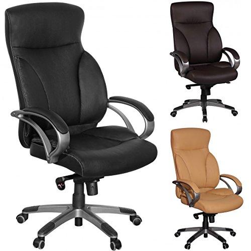 Amstyle-Brostuhl-BERLIN-Schwarz-X-XL-150-KG-Belastbarkeit-Schreibtischstuhl-Leder-Optik-Chefsessel-Wippfunktion-gepolstert-Drehstuhl-mit-Armlehne-Drehsessel-Rckenlehne-ergonomisch-Hartbodenrollen