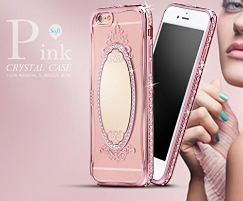 iPhone SE Mirror Case,Inspirationc® Bling Rhinestone Clear Rubber Plating Frame TPU Soft Silicone Bumper Case Cover for iPhone SE/5S/5--Rose Gold)