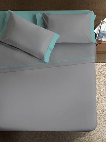 Ipersan Double Color Variante Completo, 2 Piazze, Cotone, Grigio/Verde Acqua, Matrimoniale