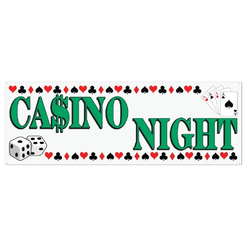 Casino Night Sign Banner Party Accessory (1 count) (1/Pkg) - 1