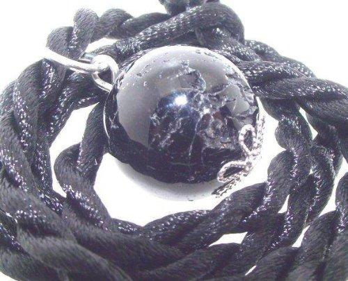 16mm Black Tourmaline Schorl Pendant with Thong