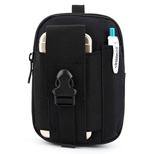 U-times Marsupio custodia smart portafoglio tattico in nylon per sport all'aperto molle EDC , donna, Black, S