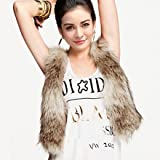 Zeagoo Women's Autumn and Winter Fur Vest Fastener Satin Liner Vest by Leather Factory Outlet