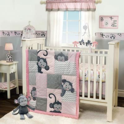 3 Piece Pink & Gray Monkey Girl Crib Bedding Set from Bedtime Originals