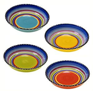 Certified International Tequila Sunrise Soup Pasta Bowl, 9.25-Inch, Assorted Designs, Set... by Certified International