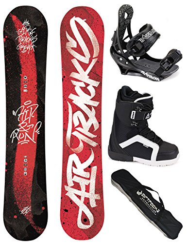 AIRTRACKS-SNOWBOARD-SET-HIT-AND-RUN-SNOWBOARD-WIDE-ROCKER-FIXATION-SAVAGE-SOFTBOOTS-SB-BAG-150-153-155-158-161-cm