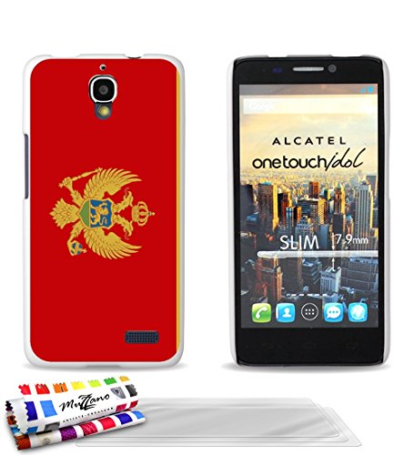 GENUINE Extra-Slim rigid White Case Flag Montenegro By MUZZANO for ALCATEL ONE TOUCH IDOL + 3 UltraClear Screen protector