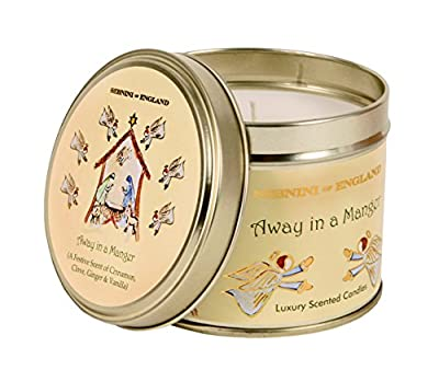 Sebnini 8 x 9 cm Away in a Manger Scented Tin Candle, White from Sebnini Ltd