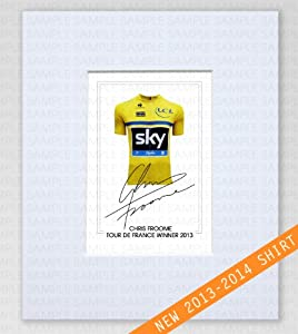 MOUNTED CHRIS FROOME TEAM SKY CYCLING TOUR DE FRANCE WINNER 2013 YELLOW JERSEY SIGNED 10X8 INCH MOUNT WITH PRINTED AUTOGRAPH PHOTO PRINT PHOTOGRAPH AUTOGRAPHED POSTER JERSEY SHIRT GIFT PRESENT XMAS CHRISTMAS BIRTHDAY