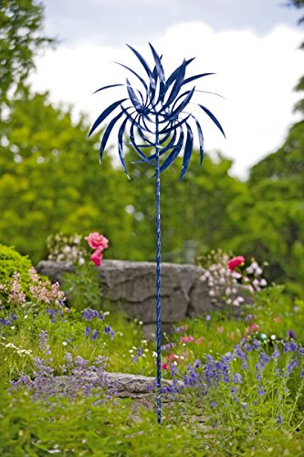 Dahlia Wind Spinner Blue Pinwheel Staked Spinner