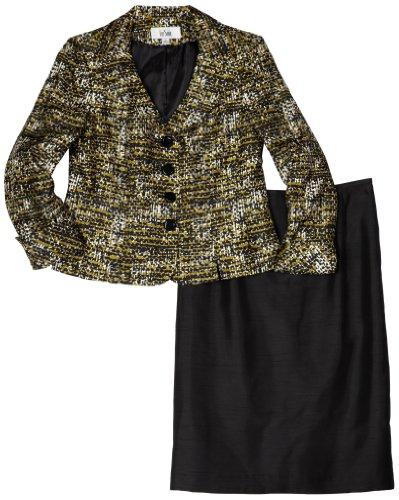 Lesuit Women's Printed Shantung Skirt Suit