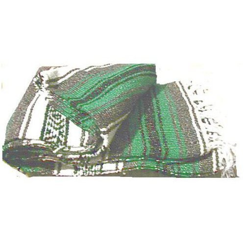 Large Authentic Mexican Falsa Blanket Yoga Pilate Blanket Green