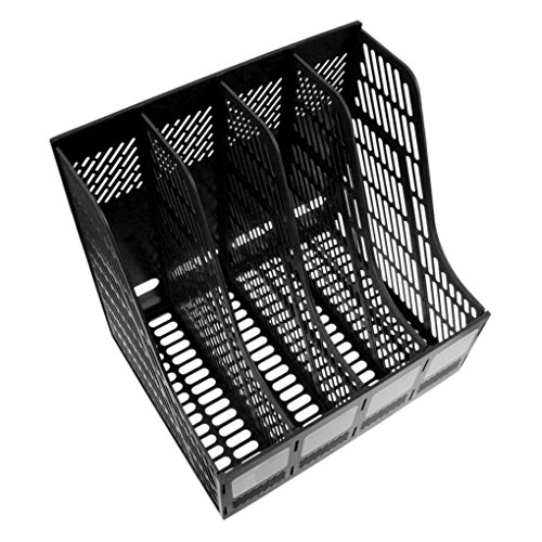 LY® Boîte De Rangement Module De Classement En Polypropylène Pour Bureau Classeur Papier A4 X 4 Compartiments - Noir
