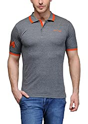 AWG Men's Premium Cotton Polo T-shirt with Embroidery - Charcoal Grey - XXXXL