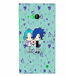 PrintVisa Cute Cartoon Couple 3D Hard Polycarbonate Designer Back Case Cover for Nokia Lumia 730