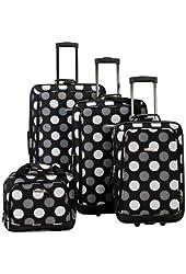 Fox Luggage F106-BLACK DOT 4Pc Blackdot Luggage Set Rockland
