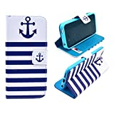 """Best Quality iphone 6 Case (4.7"""") Anchor Stripes Flip Wallet Credit ID Card Slot Holder Phone Case With Stand –Retail Package… Online Undisputed"""