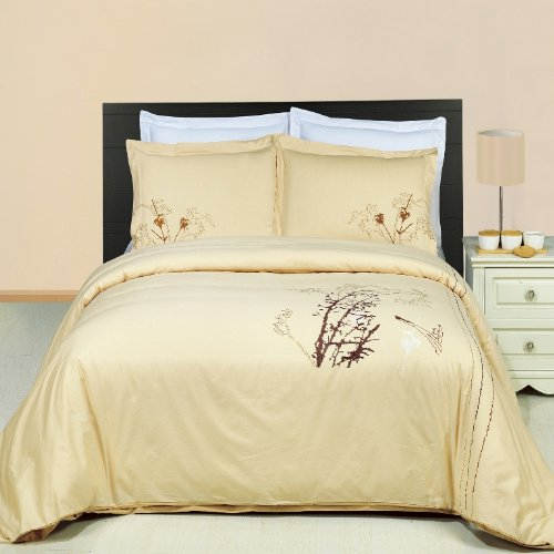 Egyptian Bedding Katella Embroidered 3 Piece Queen Size Duvet Set, 100% EGYPTIAN COTTON