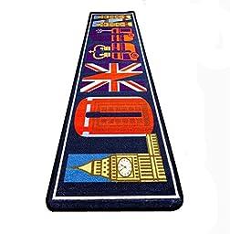 LELVA British Style Fashion Rug, London Long Blue Rug, Kitchen Bedroom Rug Floor Mats Floor Mats (40cm x 150cm)