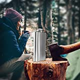 Premium 304 (18/8) Stainless Steel Liquor Hip Flask by Future Hydrate - Includes Free Bonus Funnel and Black Gift Box (8 oz Stainless Steel)