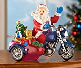 Santa On Motorcycle Tabletop Christmas Holiday Decor