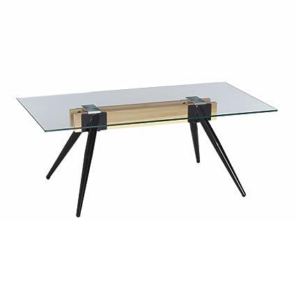 Lola Derek - Mesa de centro minimalista transparente de madera para salón Factory