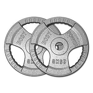 Body Power TRI-GRIP Cast Iron Olympic Discs - 25Kg (x2)