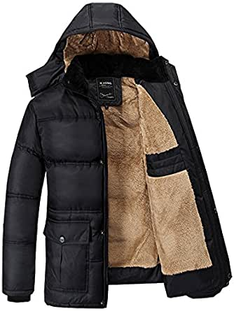 Fashciaga Men's Hooded Faux Fur Winter Coats at Amazon Men