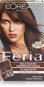 L'Oreal Paris Feria Hair Color, 45 Deep Bronzed Brown/French Roast