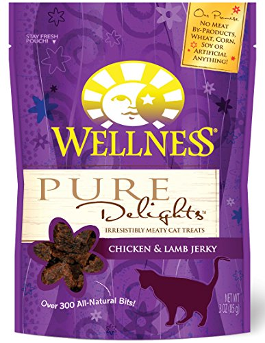 Wellness Pure Delights Natural Grain Free Cat Treats, Chicken & Lamb Jerky, 3-Ounce Bag (Wellness Chicken And Lamb Treats compare prices)