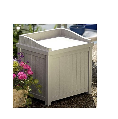 Suncast White Resin Toupe 22 Gallon Storage Seat Seating