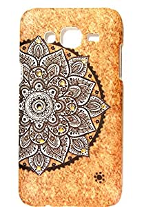 Samsung Galaxy J5Back Cover Wooden Texture 3D print Traditional Print High Quality Floral Wood Print With Golden Diamonds by DRaX®