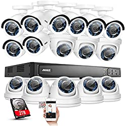 Annke HD-TVI 1080P Security Camera System 16CH Full 1080P H.264 Digital Video Recorder with 2TB Hard Drive + 16x 1920TVL(1080P/2.0MP) Outdoor Fixed CCTV Cameras