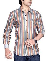 Moksh Men's Striped Casual Shirt V2IMS0414-14 (Large)