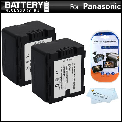 2 Pack Battery Kit For Panasonic Hdc-Hs900K 3 Mos 220Gb Hdd 3D Compatible Camcorder Includes 2 Extended Replacement (1500Mah) Vw-Vbn130 Batteries (Fully Decoded!) + Lcd Screen Protectors + Microfiber Cleaning Cloth