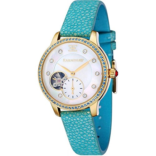 Thomas Earnshaw Automatic Australis Women's Mechanical Watch with White Dial Analogue Display and Turquoise Strap ES-8029-07
