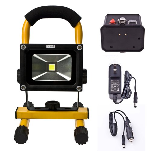 Loftek® Outdoor Powerbank Ultra-Compact Portable Led Work Lamp Flood Light, For Car Travelling Camping Fishing, Power Bank Usb Port For Phone And Tablet Devices, Detachable Rechargeable Battery Case Provide Car Charger And Wall Charger.Yellow