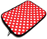 Flash Superstore Polka Dots Red / White Water Resistant Neoprene Soft Zip Case/Cover suitable for HP Pavilion DV6-6156ea ( 15-16 Inch Laptop / Notebook )