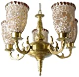 Fos Lighting Meenakshi Charlie Antique Brass Finish 5 Light Chandelier