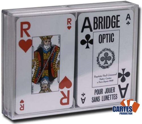 Coffret 2 jeux de 52 cartes Bridge optic bleu et rouge Index : 2/jumbo .