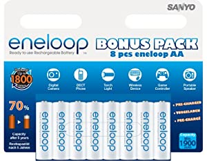 1x8 Sanyo Eneloop Mignon AA 1900 mAh (discontinued by manufacturer)