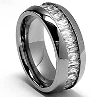8MM High Polish Ladies Eternity Titanium Ring Wedding Band with CZ size 8