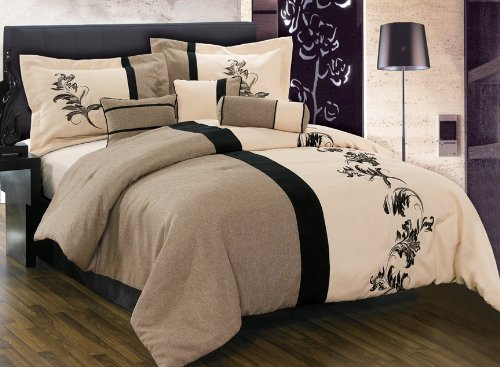 8 Pieces Luxury Brown, Cream Beige with Floral Linen Comforter (106x96 in Inch) Set / Bed-in-a-bag King Size Bedding