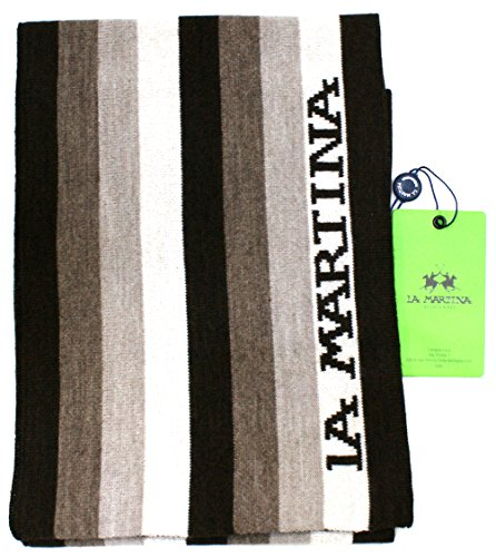 La Martina Sciarpa Unisex Made in Italy Cm 170x20 Marrone