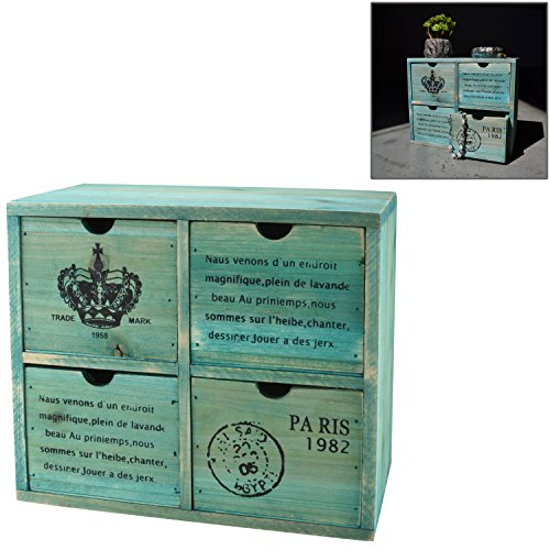 French Country Design Rustic Turquoise 4 Drawer Wooden Storage Cabinet / Jewelry Organizer Chest - MyGift (Desktop Storage Cabinet compare prices)