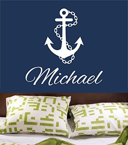 Wall Decal Vinyl Sticker Decals Art Decor Design Sign Custom Name Baby Letter Anchor Symbol Nautical Salior Ocean Living Room Bedroom(R546) front-934508