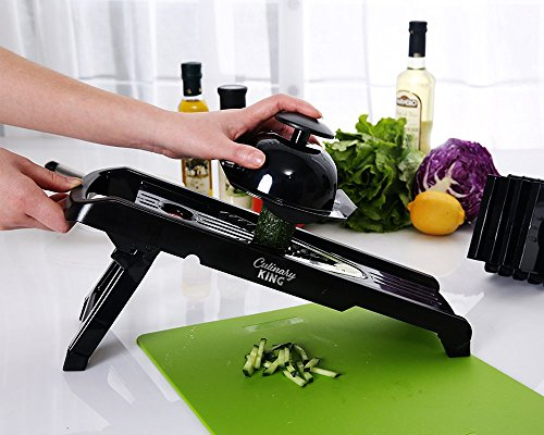 Culinary King Vegetable and Mandoline V-Blade Slicer, Cutter and Shredder in Black with Stainless Steel Surgical-Grade Blades for Healthy Eating, Garnishes, Onion and Tomato Slicing (Crockpot Corn compare prices)