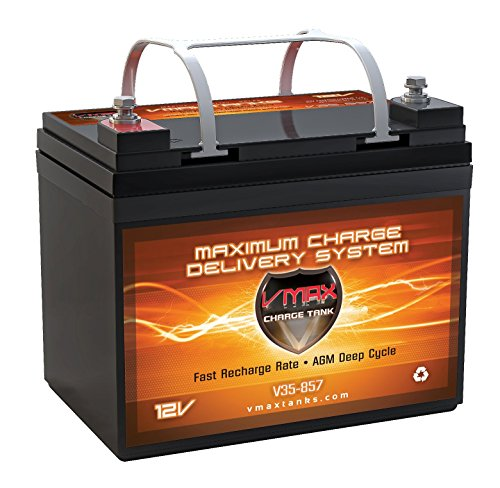VMAXTANKS Vmax857 Tm AGM 12 Volt 35AH Group U1 Marine Deep Cycle Hi Battery for Boats and 18-35lb Minn Kota, Minnkota, Cobra, Sevylor and Other Trolling Motor (Rv Deep Cycle Battery compare prices)