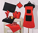 Swayam Grillz Printed Cotton 8 Piece Kitchen Linen Set - Red and Black (KS08-5603 )