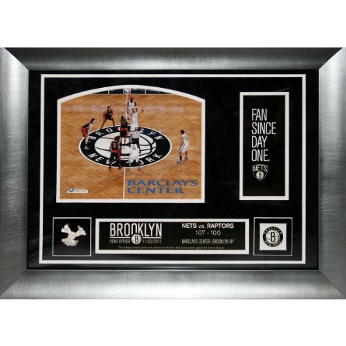 NBA Brooklyn Nets Home Opener at Barclay's Center Collage with Game Used Net, 14 x 20-Inch (Barclays Center compare prices)